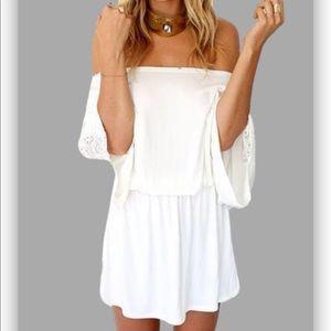 Sabo Skirt Crochet Sleeves BOHO Smock Waist Dress